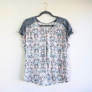 Lucky Brand tile printed pink blue viscose tee